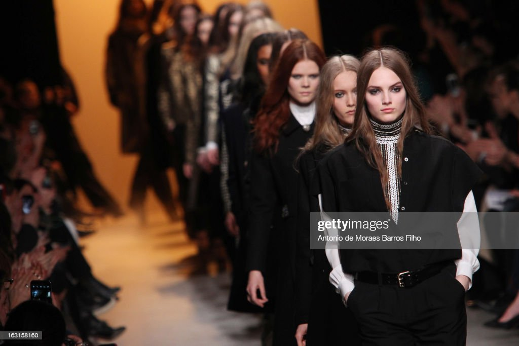 Models walk the runway during the Paul & Jo Fall/Winter 2013 Ready-to-Wear show as part of Paris Fashion Week on March 5, 2013 in Paris, France.