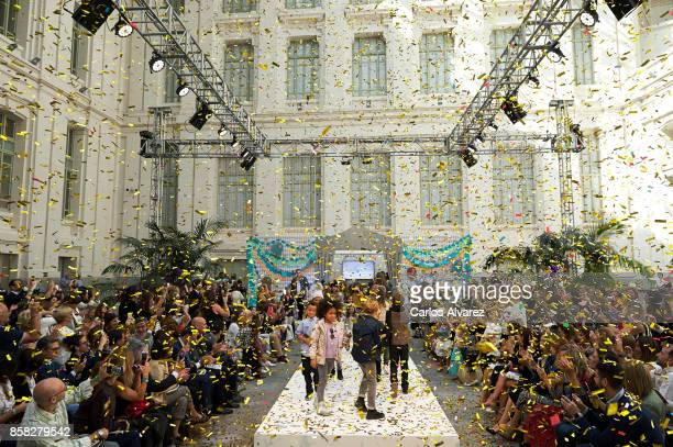 Models walk the runway during 'The Petite Fashion Week' at the Cibeles Palace on October 6 2017 in Madrid Spain