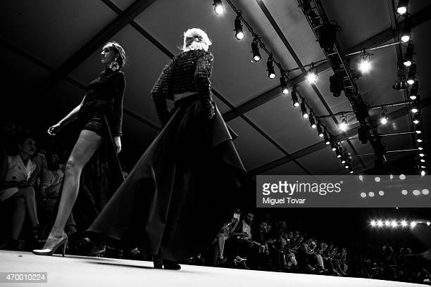 Models walk the runway during the Pink Magnolia Show as part of MercedesBenz Fashion Week Mexico Fall/Winter 2015 at Campo Marte on April 16 2015 in...