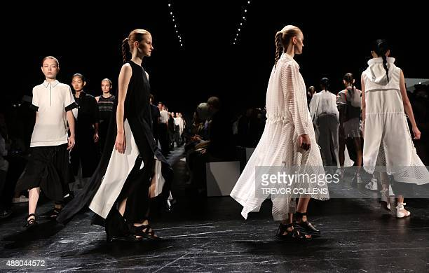 Models walk the runway during the Public School presentation during New York Fashion Week in New York on September 13 2015 AFP PHOTO/TREVOR COLLENS