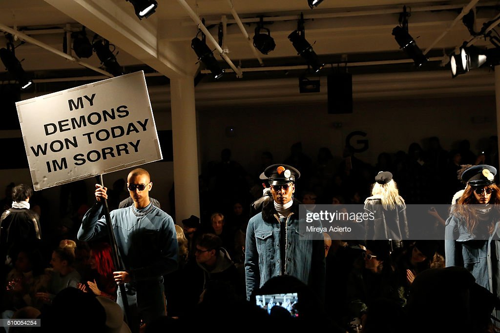 Models walk the runway during the Pyer Moss Fall 2016 fashion show during MADE Fashion Week at Milk Studios on February 13, 2016 in New York City.