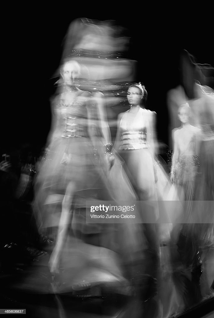 Models walk the runway during the Raffaella Frasca Haute Couture fashion show at Altaroma Altamoda on January 27, 2014 in Rome, Italy.