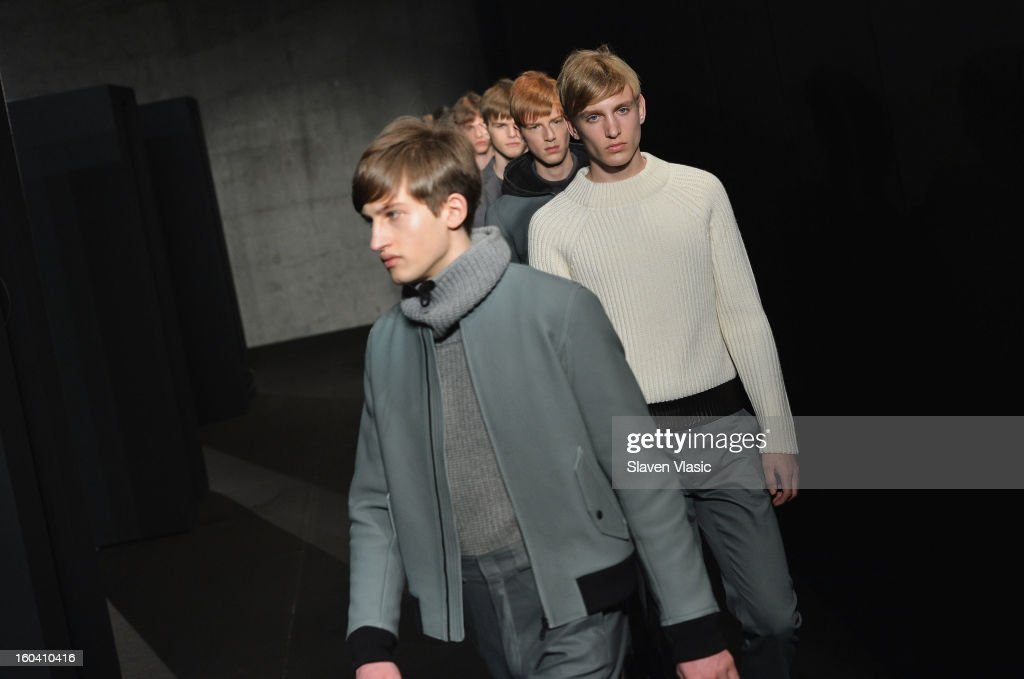Models walk the runway during the Rag & Bone Men's collection fall 2013 fashion show on January 30, 2013 in New York City.
