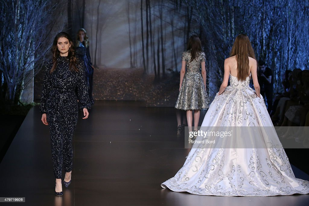 Models walk the runway during the Ralph & Russo show finale as part of Paris Fashion Week Haute Couture Fall/Winter 2015/2016 on July 6, 2015 in Paris, France.