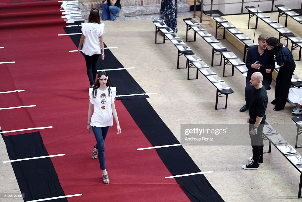 Models walk the runway during the rehearsal ahead of the Dorothee Schumacher show during the Mercedes-Benz Fashion Week Berlin Spring/Summer 2017 at Elisabethkirche on June 29, 2016 in Berlin, Germany.