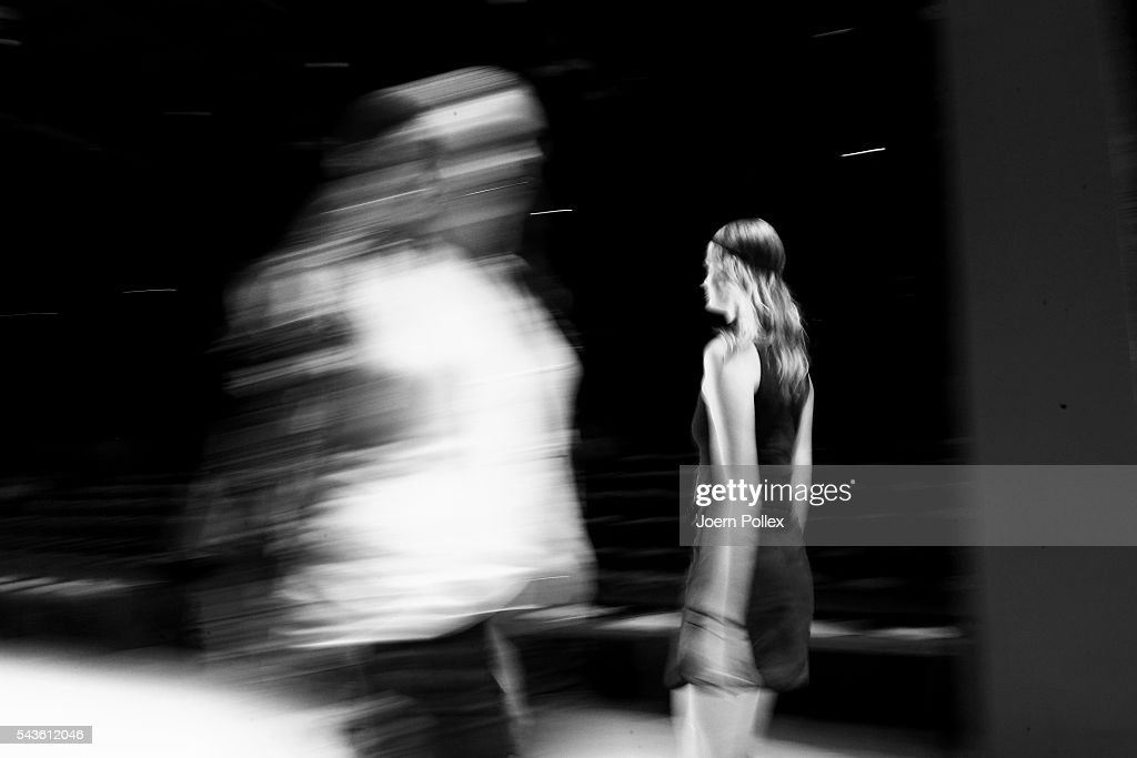 Models walk the runway during the rehearsal ahead of the Rebekka Ruetz show during the Mercedes-Benz Fashion Week Berlin Spring/Summer 2017 at Erika Hess Eisstadion on June 29, 2016 in Berlin, Germany.