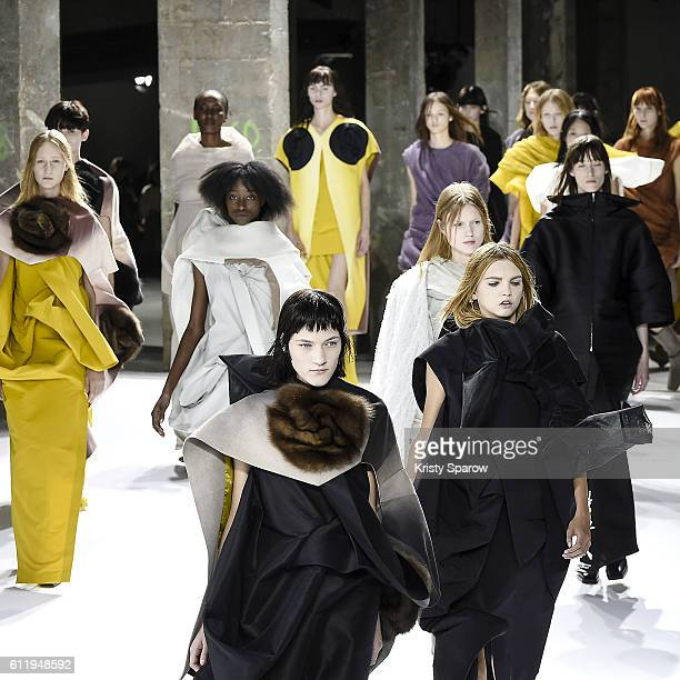 Models walk the runway during the Rick Owens show as part of Paris Fashion Week Womenswear Spring/Summer 2017 on September 29 2016 in Paris France