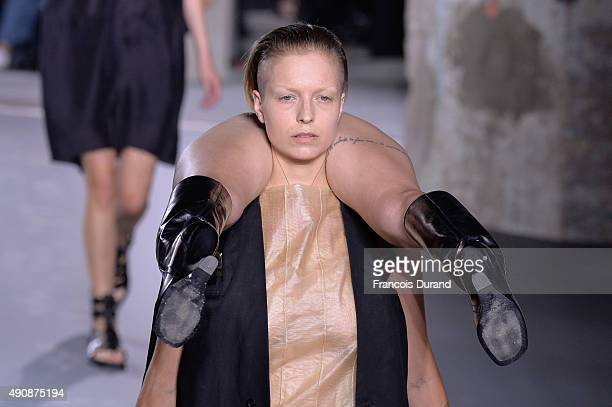 Models walk the runway during the Rick Owens show as part of the Paris Fashion Week Womenswear Spring/Summer 2016 on October 1 2015 in Paris France