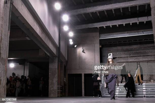 Models walk the runway during the Rick Owens show as part of the Paris Fashion Week Womenswear Fall/Winter 2017/2018 on March 2 2017 in Paris France