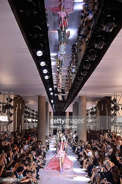 Models walk the runway during the Roberto Cavalli fashion show as part of Milan Fashion Week Spring/Summer 2016 on September 26 2015 in Milan Italy