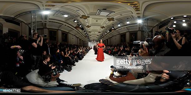 Models walk the runway during the Rohmir show during London Fashion Week Fall/Winter 2015/16 at Fashion Scout Venue on February 21 2015 in London...