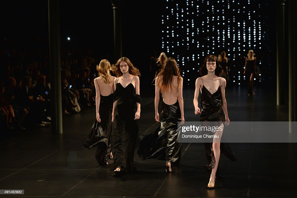 Models walk the runway during the Saint Laurent show as part of the Paris Fashion Week Womenswear Spring/Summer 2016 on October 5 2015 in Paris France