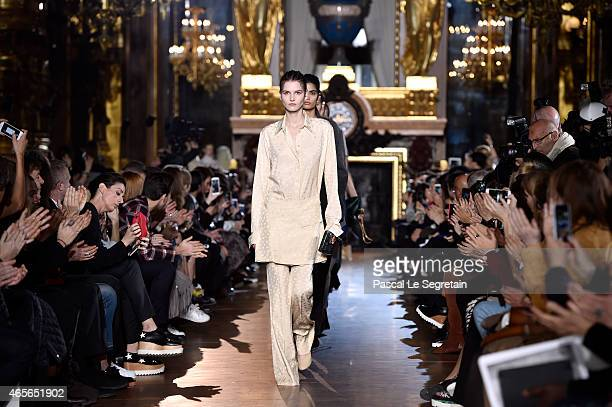Models walk the runway during the Stella McCartney show as part of the Paris Fashion Week Womenswear Fall/Winter 2015/2016 on March 9 2015 in Paris...