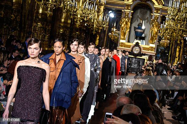 Models walk the runway during the Stella McCartney show as part of the Paris Fashion Week Womenswear Fall/Winter 2016/2017 on March 7 2016 in Paris...