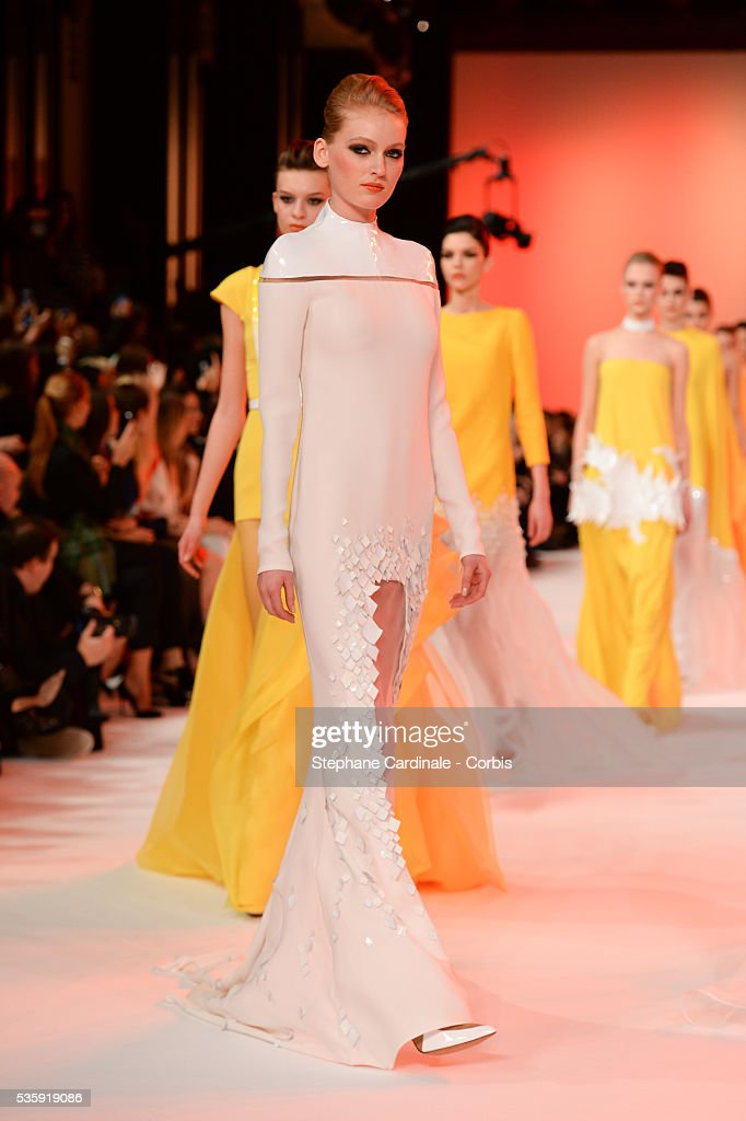 Models walk the runway during the Stephane Rolland show as part of Paris Fashion Week Haute-Couture Spring/Summer 2014, at Grand Palais in Paris.