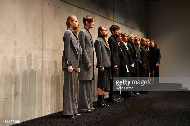 Models walk the runway during the StrateasCarlucci show at MercedesBenz Fashion Week Australia 2015 at Carriageworks on April 13 2015 in Sydney...