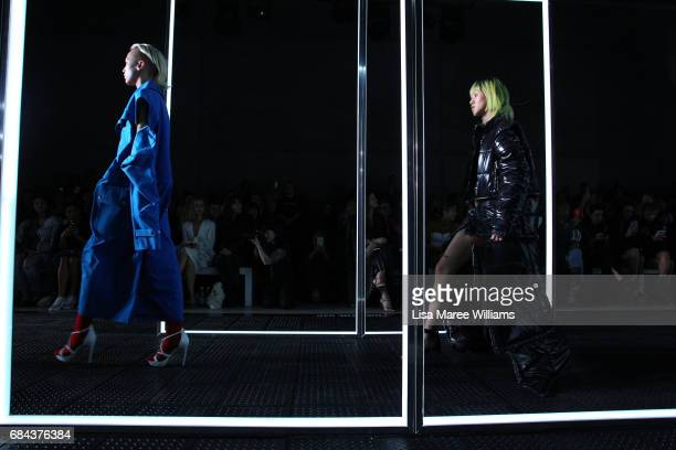 Models walk the runway during the StrateasCarlucci show at MercedesBenz Fashion Week Resort 18 Collections at Carriageworks on May 18 2017 in Sydney...