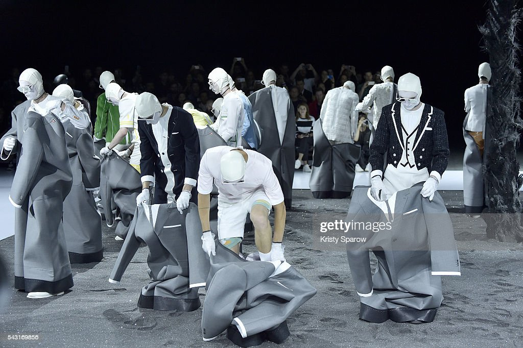 Models walk the runway during the Thom Browne Menswear Spring/Summer 2017 show as part of Paris Fashion Week on June 26, 2016 in Paris, France.