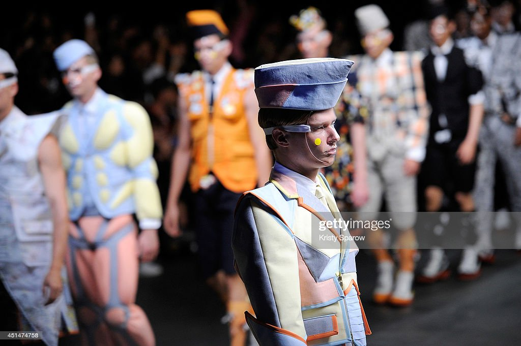 Models walk the runway during the Thom Browne show as part of Paris Fashion Week Menswear Spring/Summer 2015 on June 29, 2014 in Paris, France.