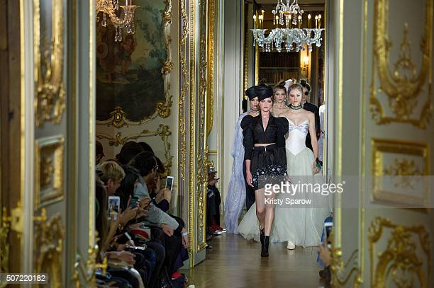 Models walk the runway during the Ulyana Sergeenko Haute Couture Spring Summer 2016 show as part of Paris Fashion Week on January 27 2016 in Paris...