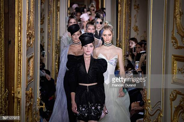 Models walk the runway during the Ulyana Sergeenko Spring Summer 2016 show as part of Paris Fashion Week on January 27 2016 in Paris France