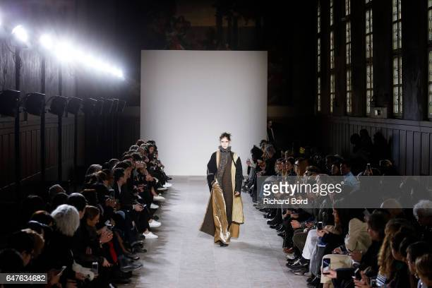Models walk the runway during the Uma Wang show at Hotel des Invalides as part of the Paris Fashion Week Womenswear Fall/Winter 2017/2018 on March 3...
