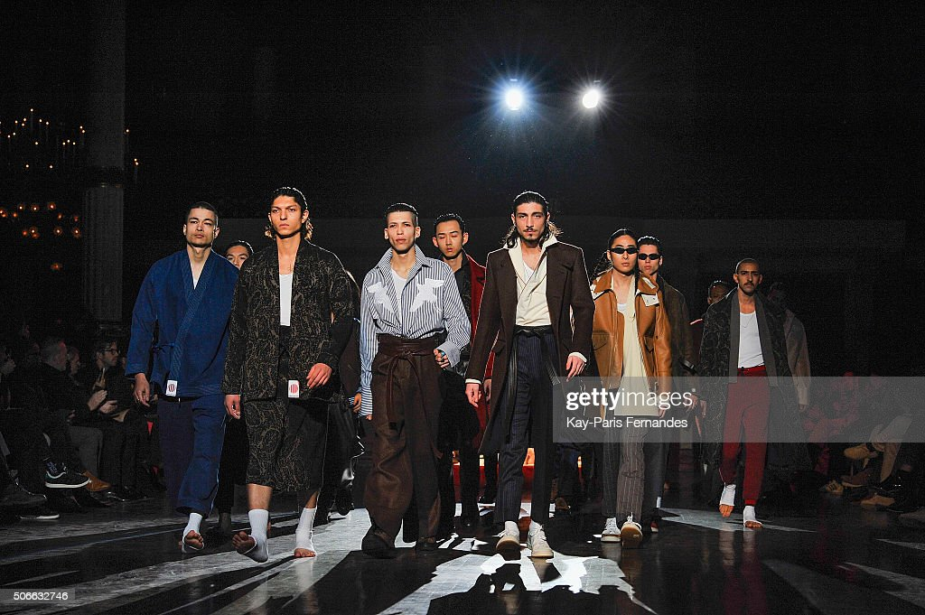 Models walk the runway during the Umit Benan Menswear Fall/Winter 2016-2017 show as part of Paris Fashion Week on January 24, 2016 in Paris, France.