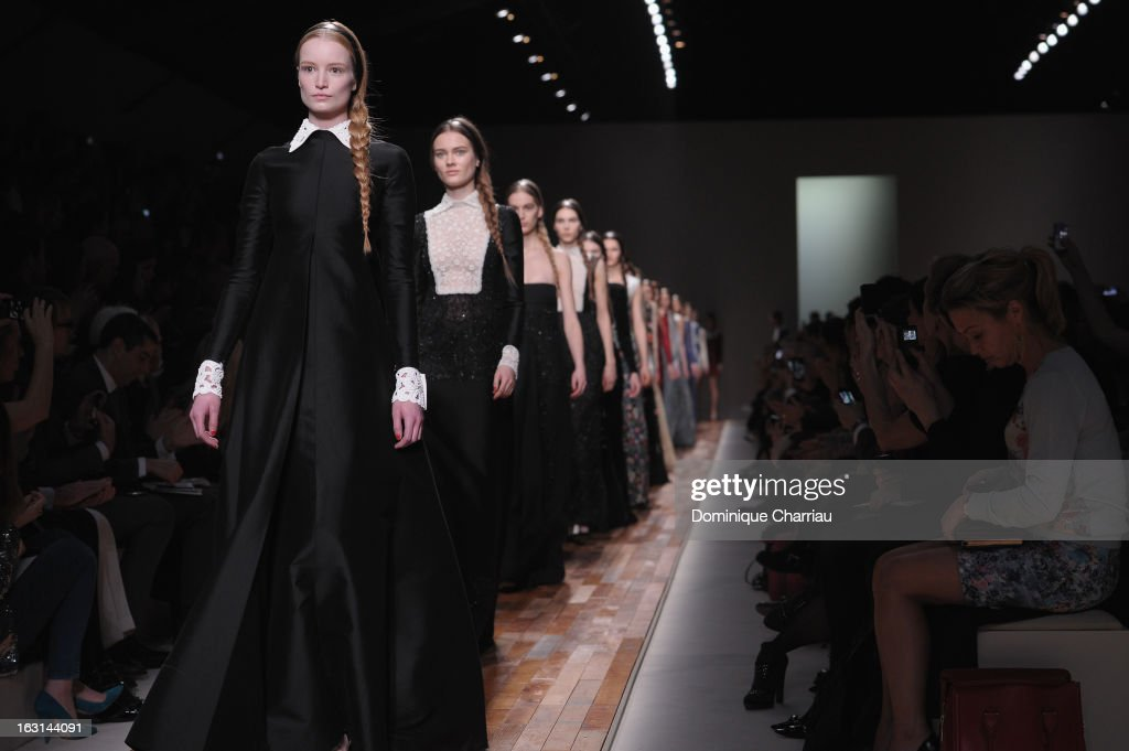 Models walk the runway during the Valentino Fall/Winter 2013 Ready-to-Wear show as part of Paris Fashion Week on March 5, 2013 in Paris, France.