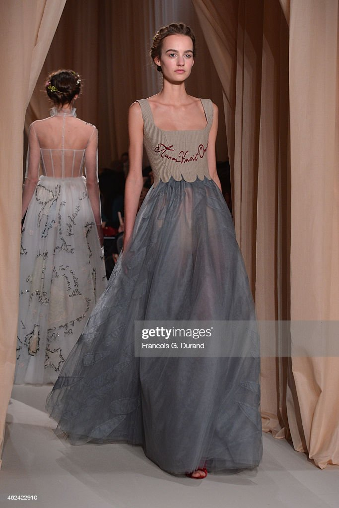 Models walk the runway during the Valentino show as part of Paris Fashion Week Haute Couture Spring/Summer 2015 on January 28 2015 in Paris France