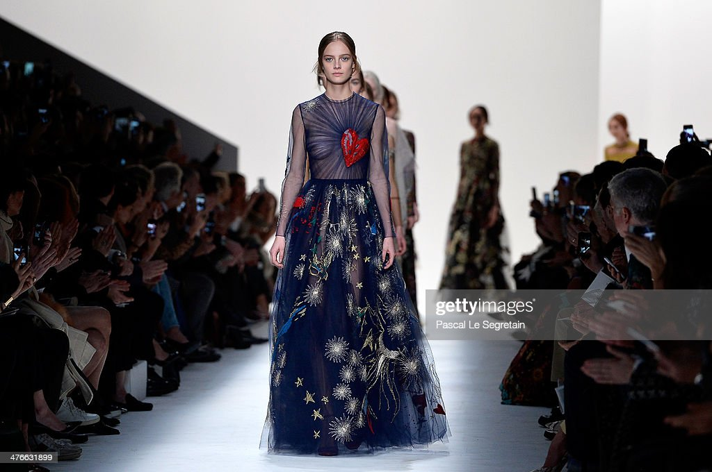 Models walk the runway during the Valentino show as part of the Paris Fashion Week Womenswear Fall/Winter 2014-2015 on March 4, 2014 in Paris, France.