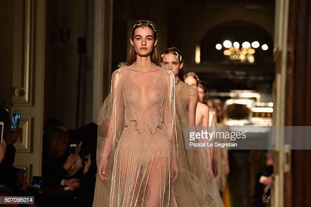 Models walk the runway during the Valentino Spring Summer 2016 show as part of Paris Fashion Week on January 27 2016 in Paris France