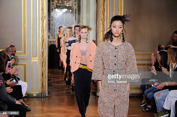 Models walk the runway during the Veronique Leroy show as part of Paris Fashion Week Womenswear Spring/Summer 2016 on October 3 2015 in Paris France