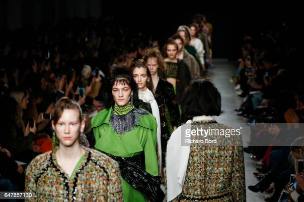 Models walk the runway during the Veronique Leroy show at Palais de Tokyo as part of the Paris Fashion Week Womenswear Fall/Winter 2017/2018 on March...