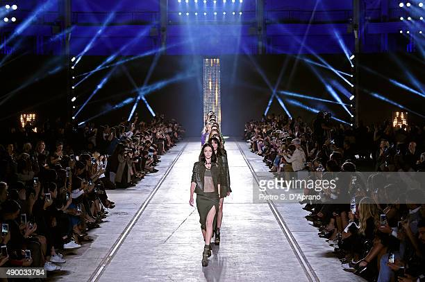 Models walk the runway during the Versace fashion show as part of Milan Fashion Week Spring/Summer 2016 on September 25 2015 in Milan Italy
