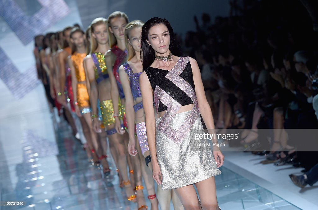 Models walk the runway during the Versace show as a part of Milan Fashion Week Womenswear Spring/Summer 2015 on September 19 2014 in Milan Italy