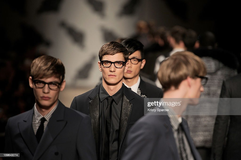 Models walk the runway during the Viktor & Rolf Menswear Autumn / Winter 2013/14 show as part of Paris Fashion Week on January 17, 2013 in Paris, France.