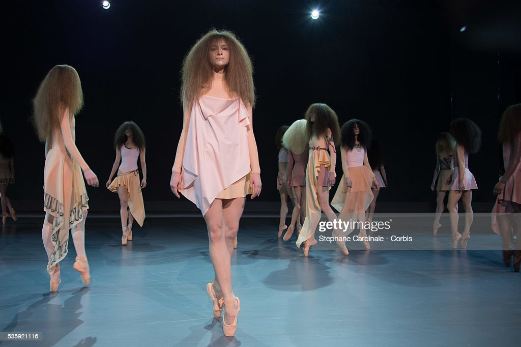 Models walk the runway during the Viktor&Rolf show as part of Paris Fashion Week Haute Couture Spring/Summer 2014, in Paris.