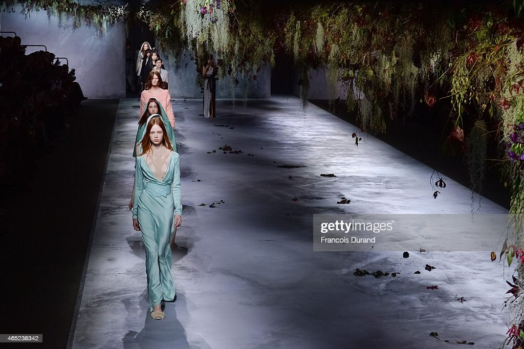 Models walk the runway during the Vionnet show as part of the Paris Fashion Week Womenswear Fall/Winter 2015/2016 on March 4 2015 in Paris France
