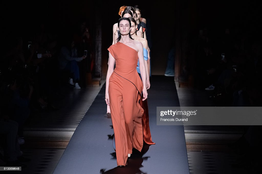 Models walk the runway during the Vionnet show as part of the Paris Fashion Week Womenswear Fall/Winter 2016/2017 on March 2 2016 in Paris France