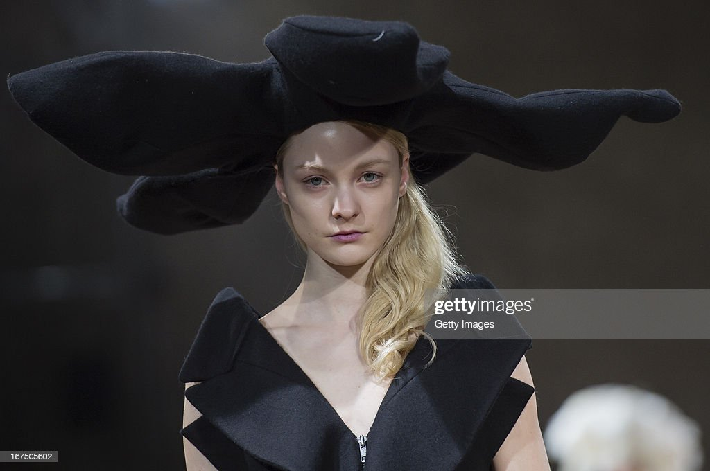 Models walk the runway during the Yohji Yamamoto fashion show 'Cutting Age' at St. Agnes Church on April 25, 2013 in Berlin, Germany.