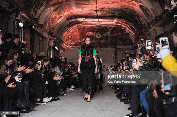 Models walk the runway during the Y/Project show as part of the Paris Fashion Week Womenswear Fall/Winter 2016/2017 on March 1 2016 in Paris France
