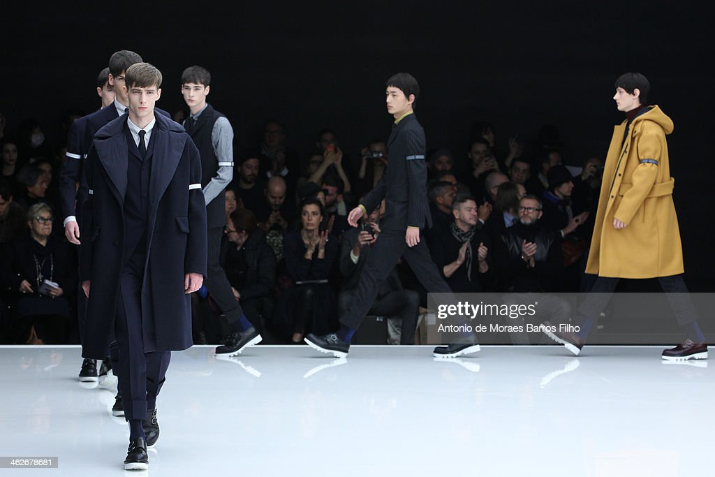 Models walk the runway during the Z Zegna show as a part of Milan Fashion Week Menswear Autumn/Winter 2014 on January 14, 2014 in Milan, Italy.
