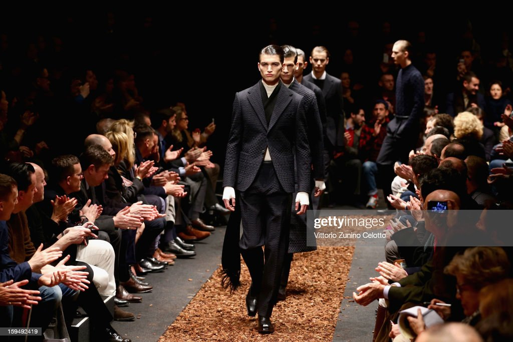 Models walk the runway during the Z Zegna show as part of Milan Fashion Week Menswear Autumn/Winter 2013 on January 14, 2013 in Milan, Italy.