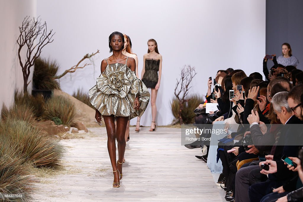 Models walk the runway during the Zuhaitz show as part of Paris Fashion Week Haute Couture Spring/Summer 2014 in Les Beaux Arts on January 22, 2014 in Paris, France.