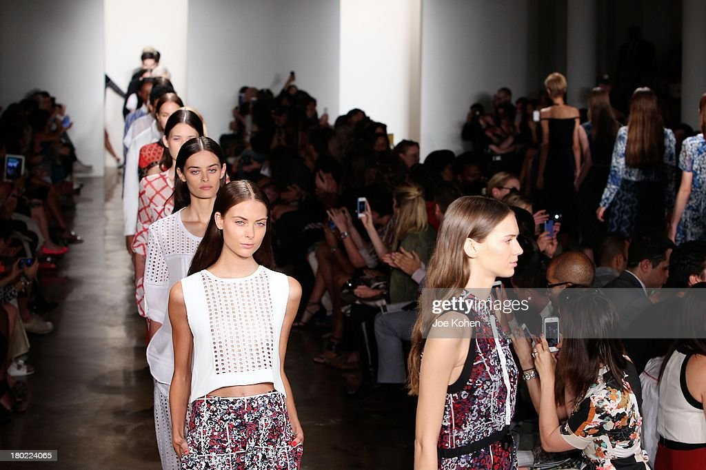 Models walk the runway during Timo Weiland Women's fashion show during Spring 2014 MADE Fashion Week at Milk Studios on September 10, 2013 in New York City.