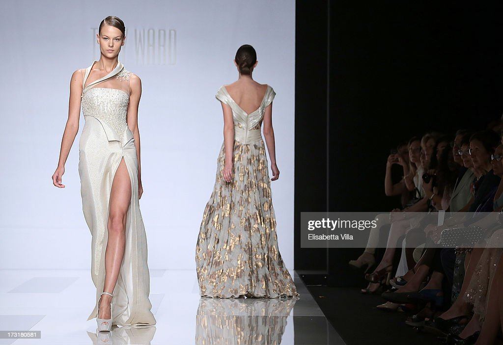 Models walk the runway during Tony Ward F/W 2013-2014 Haute Couture collection fashion show as part of AltaRoma AltaModa Fashion Week at Santo Spirito In Sassia on July 9, 2013 in Rome, Italy.