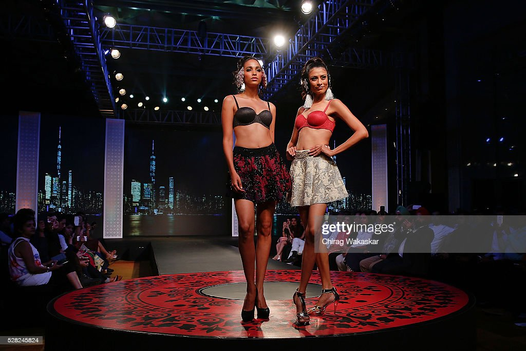 Models walk the runway during Triumph's Glam New 2016 collection launch fashion show held at Hyatt Regency on May 04, 2016 in Mumbai, Maharashtra.