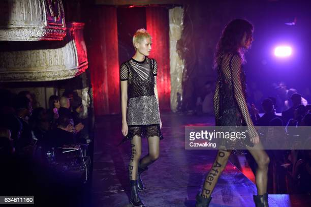 Models walk the runway finale at the Alexander Wang Autumn Winter 2017 fashion show during New York Fashion Week on February 11 2017 in New York...