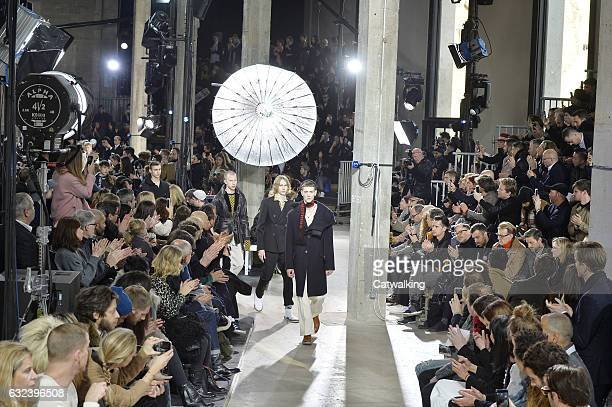 Models walk the runway finale at the Lanvin Autumn Winter 2017 fashion show during Paris Menswear Fashion Week on January 22 2017 in Paris France
