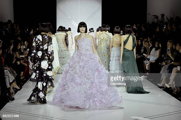 Models walk the runway finale at the Ralph Russo Spring Summer 2017 fashion show during Paris Haute Couture Fashion Week on January 23 2017 in Paris...